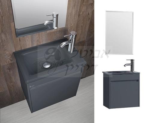 מודרני ארון אמבטיה מעוצב דגם ג'וניור אפור מבריק - ארונות אמבטיה MD-02