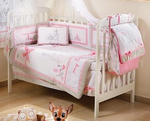 האחרון סט מצעים 3 חלקים למיטת תינוק במבי עם פפיון לורה סוויסרה - Laura ED-93