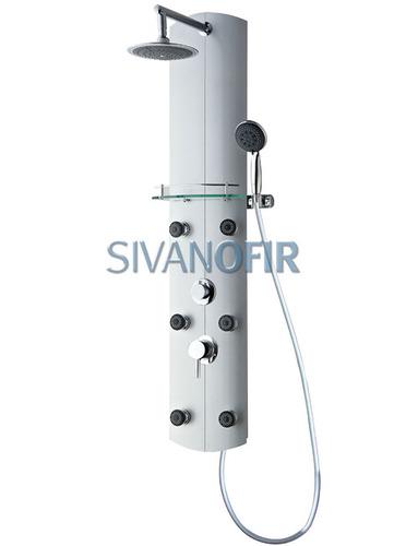 מאוד פנל למקלחת עם אינטרפוץ 6 ג'טים מתכווננים עגולים מדף זכוכית צינורות UU-57
