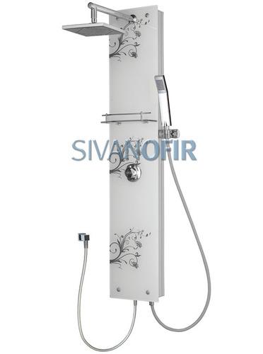 מצטיין מוט פינוק לבן למקלחת מזכוכית עם עלים בשחור מדף צינורות ראש טוש FZ-51