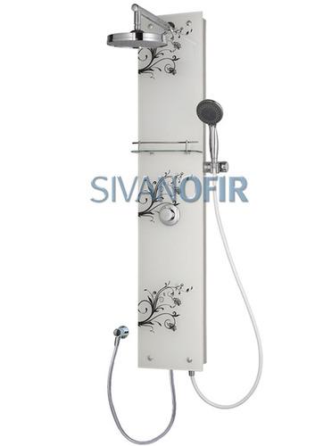 סופר מוט פינוק לבן למקלחת מזכוכית עם עלים בשחור מדף צינורות ראש טוש FG-97