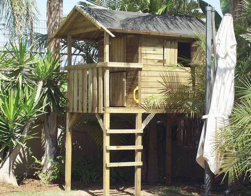 תוספת גרדן סייל - Gardensale - בית עץ לילדים גבוה על עמודים BB-63