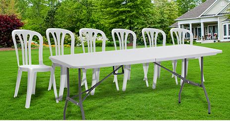 מגה וברק שולחן פלסטיק מתקפל 180 + 6 כסאות NP-17