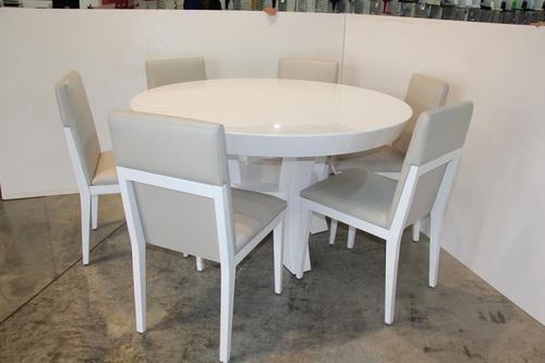 עדכון מעודכן מריוס שולחן פינת אוכל עגול קוטר 140+פתיחה 40 + 6 כסאות - פינת אוכל AA-83