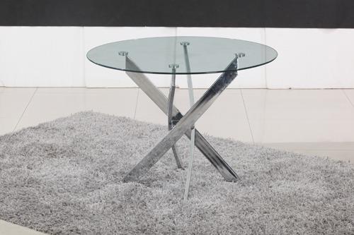 האחרון אולימפיה שולחן פינת אוכל עגול פלטה זכוכית מחוסמת שקופה, שלד ניקל FH-29