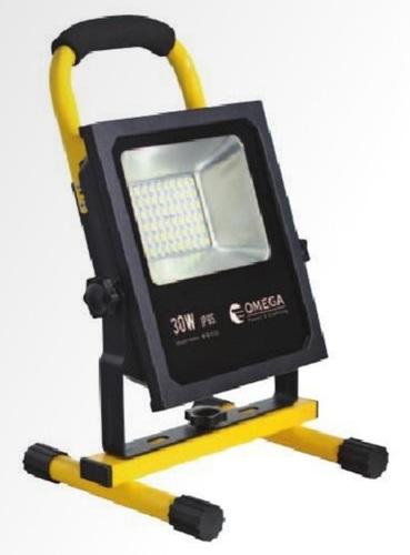 שונות פרוז'קטור לד 30W נטען עם ידית נשיאה OMEGA | פרוז'קטורים וכלי תאורה KP-87