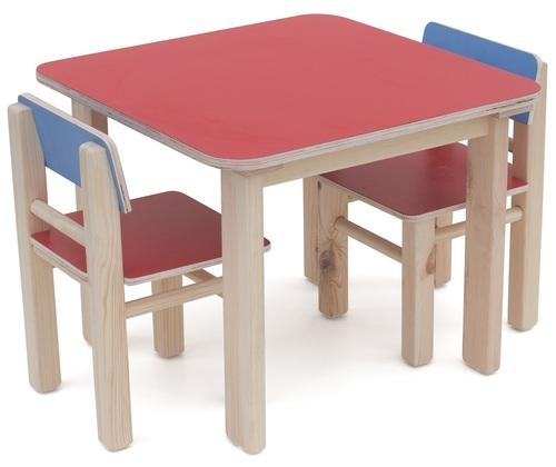 מגניב סט שולחן ו 2 כסאות מעץ מלא לילדים - כחול/אדום סופר עץ - סופר עץ NS-82