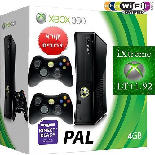 Microsoft XBOX 360 4GB SLIM PAL מוסב RGH/USB מיקרוסופט