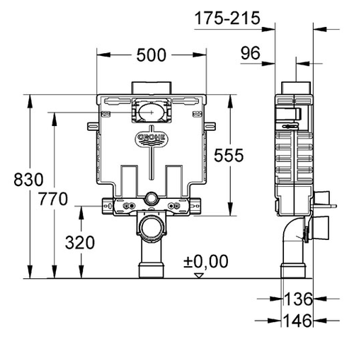 סופר מיכל הדחה סמוי נמוך גרואה כולל לחצן 38415001 - Grohe - אסלות TM-81