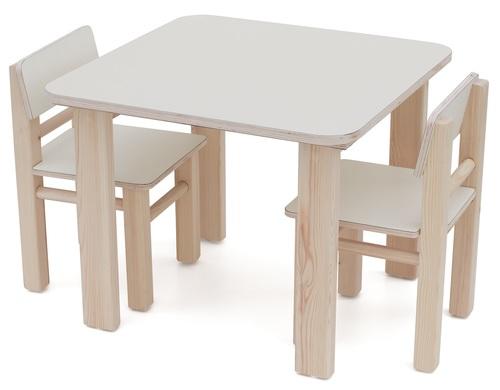 צעיר סט שולחן ו 2 כסאות מעץ מלא לילדים - שמנת סופר עץ - סופר עץ - פינות DD-05