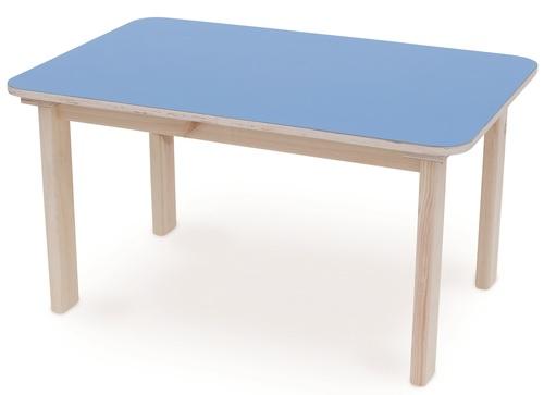 סנסציוני שולחן מוארך מעץ מלא לילדים במידה 90 על 60 ס'מ - כחול סופר עץ DR-56