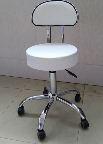 מדהים כסא קוסמטיקאית - רגל ניקל + גלגלים- מושב דמוי עור לבן/שחור - כסאות VF-71