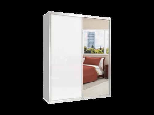 מודרני ארון הזזה 2 דלתות MGA 160 דלת מראה ודלת זכוכית - כרמל ארונות הזזה DL-32