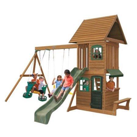 פנטסטי מתקן חצר לילדים - 2 נדנדות, מגלשה, בית משחק עליון ותחתון 'ממלכת UH-56