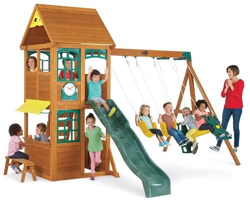 רק החוצה מתקן חצר לילדים - 2 נדנדות, מגלשה, בית משחק עליון ותחתון דגם אביב PR-18