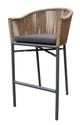 מדהים תהל כסא בר ראטן משולב מתכת מושב מרופד שחור גובה 75 סמ - ריהוט גן כללי KX-46