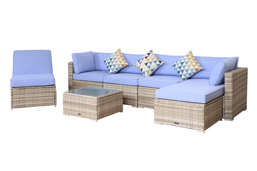 Blue Patio Furniture Sets.Broyerk 7 Piece Light Blue Outdoor Rattan Sectional Furniture Set