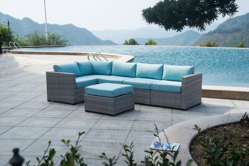 BroyerK 6 Piece Grey-Blue Outdoor Rattan Sectional Seating Set