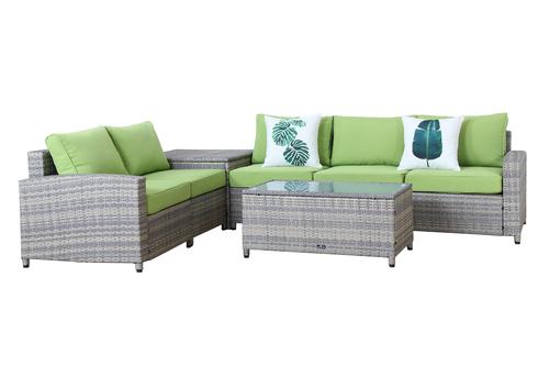 BroyerK 7 Piece Grey Outdoor Rattan Sofa Set With Storage Box