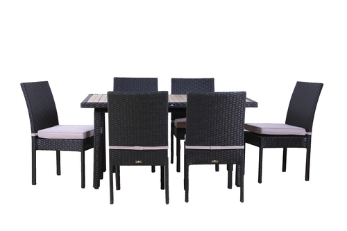 7 Piece Dining Table Set Faux Wood Table Outdoor Table Chair