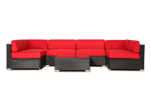 BroyerK Red Cushion Covers for 7pcs outdoor sofa rattan set (Covers Only)