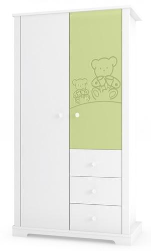 מפואר ארון לחדר תינוק / ילדים 2 דלתות דובי עם חזיתות בירוק רהיטי סגל JS-71
