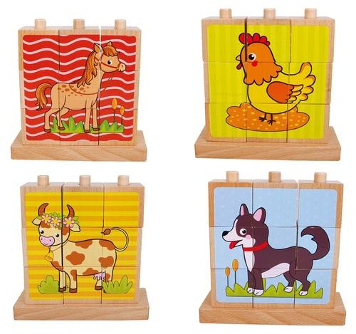 פאזל עץ קוביות 4 תמונות חיות בית