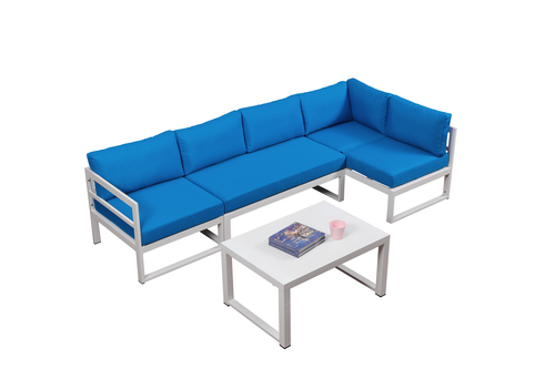 Blue Patio Furniture Sets.Broyerk Blue 4 Piece Outdoor Sectional Furniture Set With Lounge