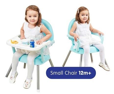 כיסא אוכל 3 ב 1 שהופך לבוסטר עם 2 מצבי גובה ומגש - ורוד