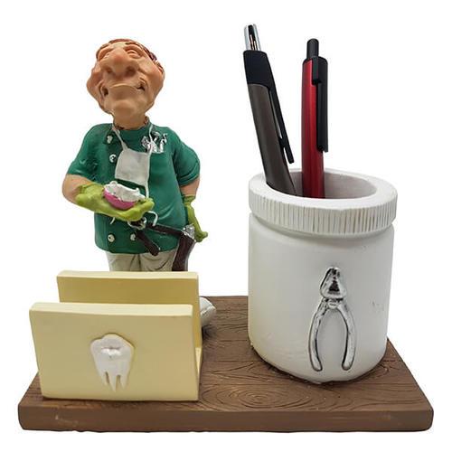 מדהים מתנה לרופא שיניים מעמד לכרטיסי ביקור וכוס לעטים עם פסל רופא שיניים WK-68