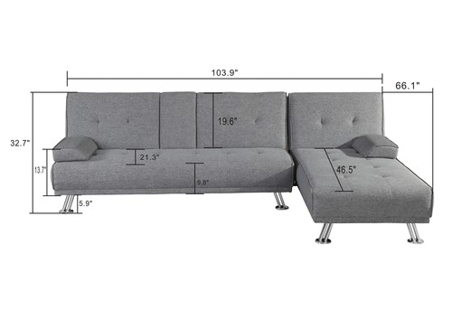 BroyerK 2 Piece Mixed Grey Reversible Sectional Sleeper Sofa Bed ...