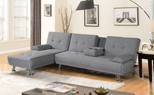 BroyerK 2 Piece Mixed Grey Reversible Sectional Sleeper Sofa ...