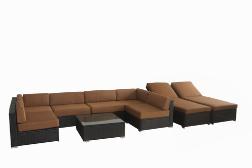 BroyerK 16-Piece Outdoor Sofa Rattan Cushion Cover Set Brown (Covers Only)