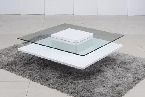למעלה פרסטיז' שולחן קפה זכוכית מחוסמת שקופה בסיס MDF אורן - שולחנות בתי FG-38