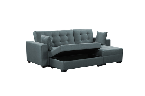 Delicieux BroyerK 3 Pc Grey Reversible Sleeper Sectional Sofa Bed