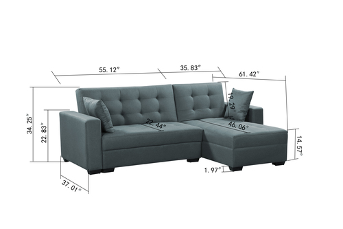 BroyerK 3 Pc Grey Reversible Sleeper Sectional Sofa Bed