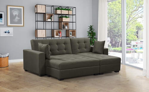 BroyerK 3 Pc Taupe Reversible Sleeper Sectional Sofa Bed