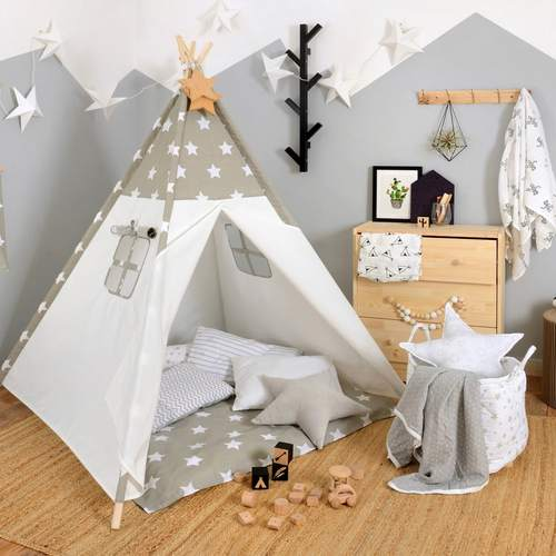 ניס אוהל טיפי מעוצב לילדים - כוכבים אפורים לורה סוויסרה - Laura Swisra NO-12