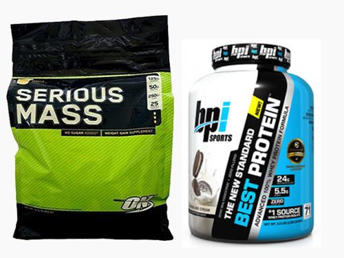 מגה וברק קומבינציה אבקת חלבון מומלצת בסט פרוטאין + Optimum Serious Mass WL-04
