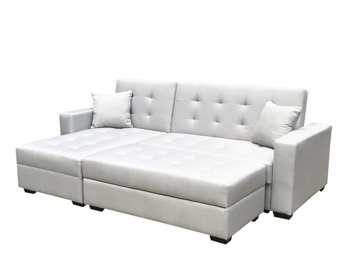 BroyerK 3 Pc Silver Grey Reversible Sleeper Sectional Sofa Bed