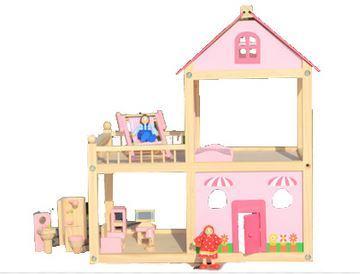 להפליא בית בובות ורוד מעץ כולל ריהוט פיט טויז - Pitoys - בית בובות MK-55
