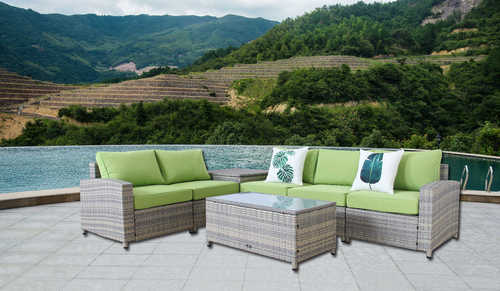 BroyerK 7 Piece Grey Outdoor Rattan Sofa Set With Storage Box