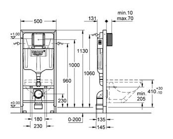 האחרון מיכל הדחה סמוי לקיר גבס תוצרת גרמניה 38528001 כולל לחצן - grohe IY-18