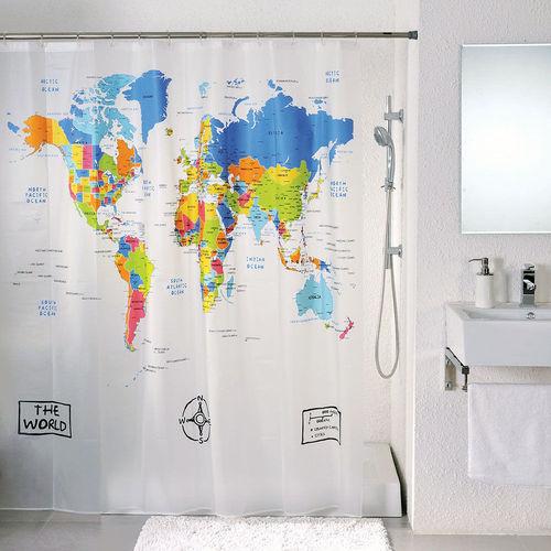 בלתי רגיל וילון אמבטיה מפת עולם World map - גאדגטים GY-71