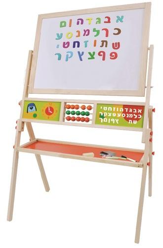 מתוחכם לוח ציור ולימוד 3 ב 1 עם מגנטים, גיר וטוש פיט טויז - Pitoys KT-17