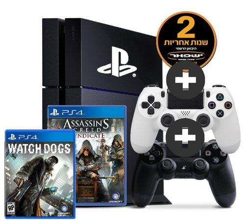 סופר Sony PS4 1TB+אחריות יבואן רשמי לשנתיים+2 שלטים+2 משחקים חזקים PT-91
